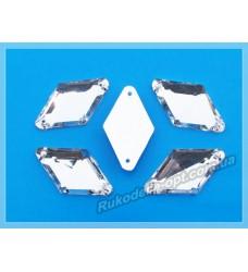 Камни акриловые пришивные ромб 18*24 мм плоский низ цвет crystal 200 шт.