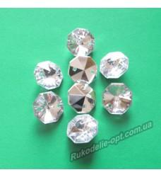 Камни акриловые пришивные восьмигранник 12 мм конусный низ цвет crystal 1000 шт.