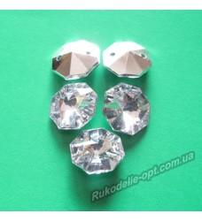 Камни акриловые пришивные восьмигранник 14 мм конусный низ цвет crystal 500 шт.