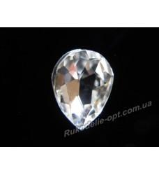 Камни стеклянные капля 6*8 мм цвет crystal