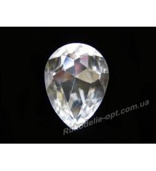 Камни стеклянные капля 13*18 мм цвет crystal