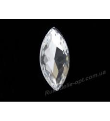 Камни стеклянные маркиз 13*27 мм цвет crystal