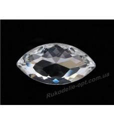 Камни стеклянные маркиз 17*32 мм цвет crystal