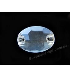 Камни стеклянные пришивные овал 11*16 мм цвет crystal