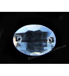 Камни стеклянные пришивные овал 13*18 мм цвет crystal