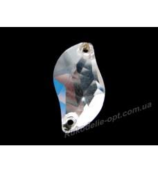 Камни стеклянные пришивные волна 7*12 мм цвет crystal