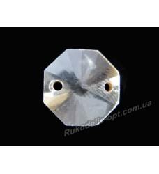 Камни стеклянные пришивные восьмигранник 10 мм цвет crystal