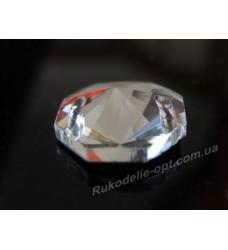 Камни стеклянные пришивные восьмигранник 14 мм цвет crystal