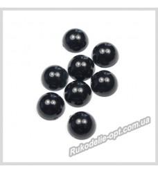 Полубусины из акрила круг черные 8 мм.