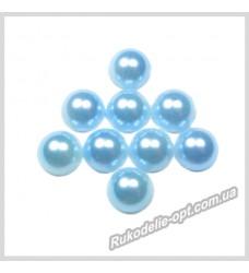 Полубусины из акрила круг голубые 8 мм.