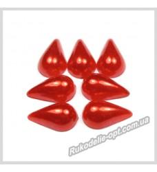 Полубусины акриловые капля красные 8*13 мм.
