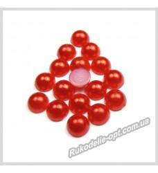 Полубусины акриловые круг красные 6 мм.