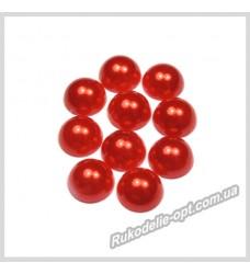 Полубусины акриловые круг красные 8 мм.
