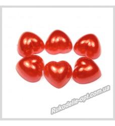 Полубусины из акрила сердце красные 10 мм.