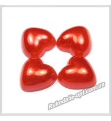 Полубусины из акрила сердце красные 14 мм.