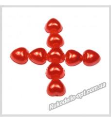 Полубусины из акрила сердце красные 8 мм.