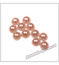 Полубусины акриловые круг персиковые 5 мм.