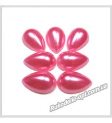 Полубусины из акрила капля розовые 10*14 мм.