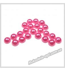 Полубусины акриловые круг розовые 5 мм.