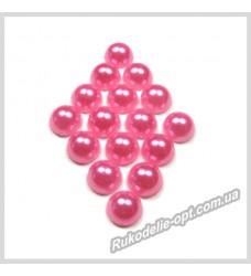 Полубусины акриловые круг розовые 6 мм.