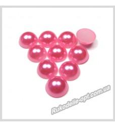 Полубусины акриловые круг розовые 7 мм.