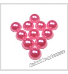 Полубусины акриловые круг розовые 8 мм.
