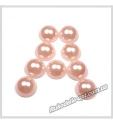 Полубусины акриловые круг светло-розовые 10 мм.