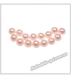 Полубусины акриловые круг светло-розовые 5 мм.