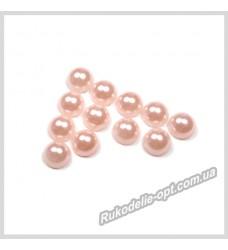 Полубусины акриловые круг светло-розовые 6 мм.