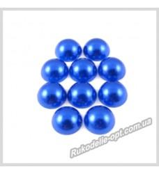 Полубусины акриловые круг темно-синие 10 мм.