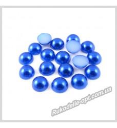 Полубусины акриловые круг темно-синие 6 мм.