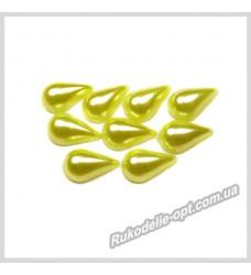 Полубусины из акрила капля желтые 8*13 мм.