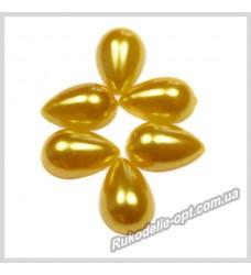Полубусины акриловые капля золотые 10*14 мм.