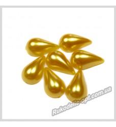 Полубусины из акрила капля золотые 8*13 мм.
