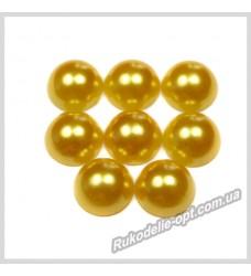 Полубусины из акрила круг золотые 10 мм.