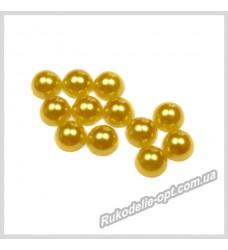 Полубусины акриловые круг золотые 6 мм.