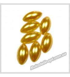 Полубусины из акрила маркиз золотые 7*15 мм.