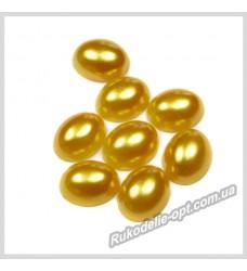 Полубусины из акрила овал золотые 8*10 мм.