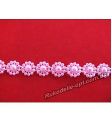 Тесьма акриловая Цветок 10 мм. розовая 25 метров